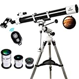 Telescope, 90mm Astronomy Refractor Telescopes with Smartphone Adapter & Bluetooth Camera Remote