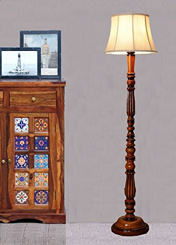 BEVERLY STUDIO 14 INCHES Beige Khadi Shade Wooden Floor LAMP Standing Lights at amazon