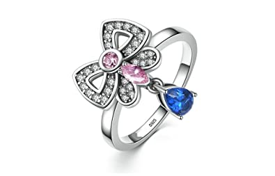 Dixey Luxury Anillos de Plata 925-Sterling-Silver-Pink-Blue-Clearly