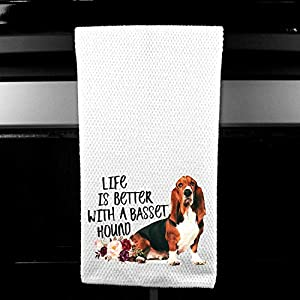 Live is Better with a Basset Hound Waffle Microfiber Kitchen Tea Bar Towel Gift for Animal Dog Lover 2