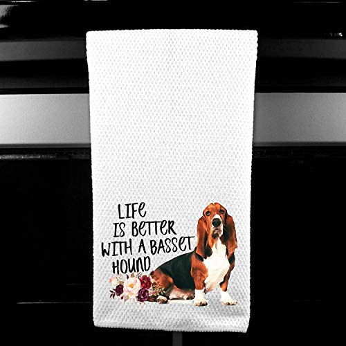 (Live is Better with a Basset Hound Waffle Microfiber Kitchen Tea Bar Towel Gift for Animal Dog Lover )