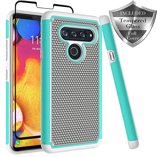 LG V40 ThinQ Case, Dual Layer [ Full Coverage Tempered Glass Screen Protector ] Anti-Scratch Rugged Heavy Duty Premium Protection Case Cover for LG V40 ThinQ - Turquoise
