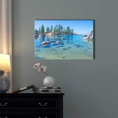 Beautiful Blue Clear Water on The Shore of The Lake Tahoe Wall Decor