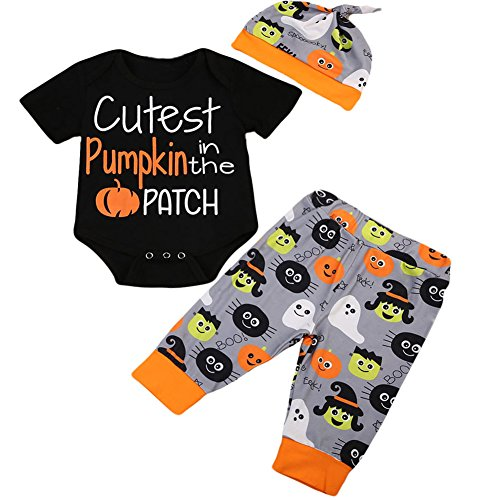 Halloween Baby Unisex Boys Girls Cutest Pumpkin in the Patch Bodysuits Pumpkin Witch Pants Hat Outfits 3pcs Set (0-6 Months, (Baby Pumpkin Halloween Outfits)