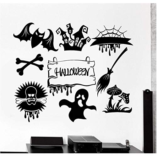 xjpgkd Vinyl Wall Applique Halloween Feast Horror Monster Ghost Sticker, Holiday Wall Sticker, Home Living Room Decoration 51X42Cm]()
