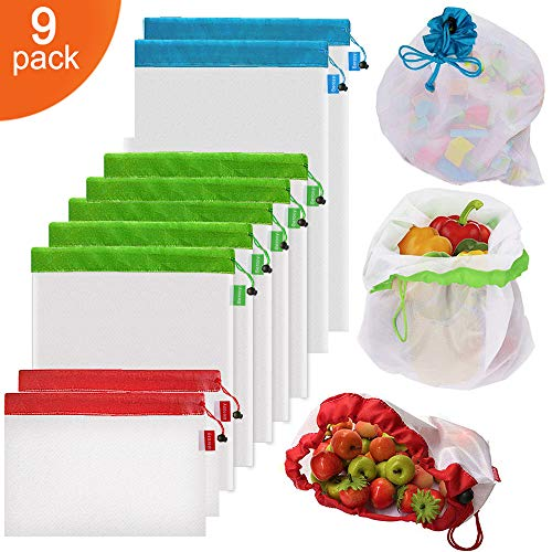 9Pcs Reusable Mesh Produce Bags, Berosy Washable Premium See-Through Lightweight Mesh Bags, for Fruit, Vegetable, Toys, Grocery, and Supermarket Shopping Storage, (2 Small, 5 Medium & 2 Large) -