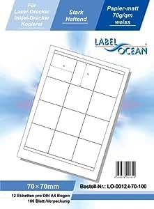 LabelOcean (R) 0012de I de 70, 1200etiquetas 70x 70mm A4, 70g/m², aptas para impresora de chorro de tinta, impresoras láser y fotocopiadoras.