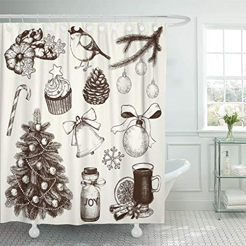 Emvency Shower Curtain Orange Jar Collection of Ink Christmas and New Year Shower Curtains Sets with Hooks 72 x 72 Inches Waterproof Polyester Fabric