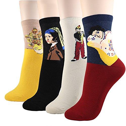 DearMy Womens Famous Cartoon Japanese Animation Print Casual Cotton Blend Crew Socks (Art-2 Print 4Pairs) (Pattern Cartoon Casual)