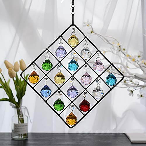 WEISIPU Colorful Crystal Ornaments - Metal Crystal Garden Pendant Rainbow Crystal Ornament Crystal Ball Prism for Window, Garden, Home Decoration (Colorful) (Ball Ornaments Large Garden)