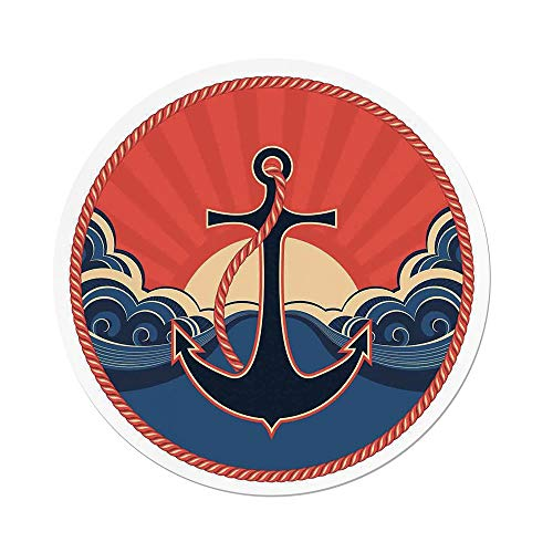 iPrint Polyester Round Tablecloth,Anchor Decor,Navy Label Robe Sea Waves at Sunset Anchor Retro Sailing Aquatic Life Icons,Red Blue Yellow,Dining Room Kitchen Picnic Table Cloth Cover Outdoor I -