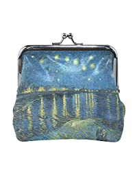 Vipsk van gogh Starry Night Over The Rhone PU Leather Wallet Card Holder Coin Purse Clutch Handbag