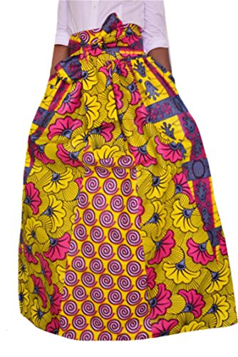 Oberora-Women Elastic Waist Africa Print Dashiki Belted Swing Maxi Skirts 1 3XL by Oberora-Women