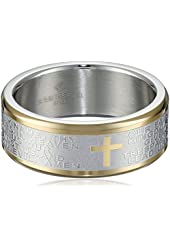 Men's Stainless Steel Two-Tone Lord's Prayer Band