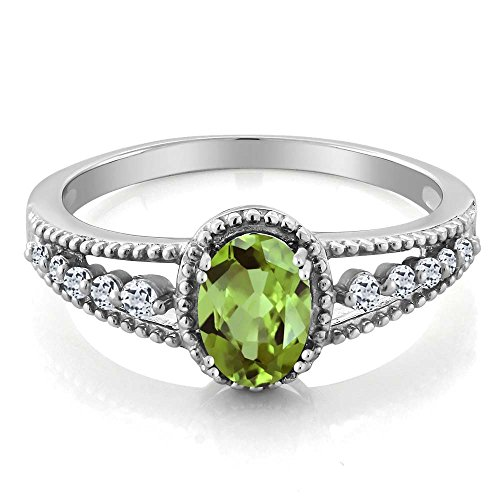 Gem Stone King Green Peridot White Topaz 925 Sterling Silver Women s Ring 1.01 cttw Available 5,6,7,8,9