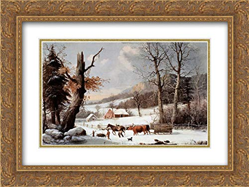 (Winter in The Country - Homeward from The Wood-Lot 18x13 Gold Ornate Frame and Double Matted Art Print by Currier and Ives)