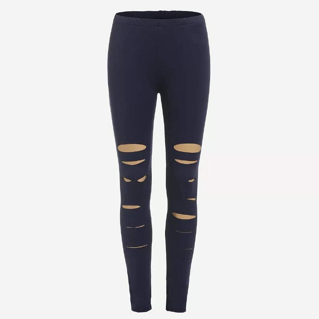 S,Blue Full-Lengths Workout Running Yoga Leggings Goldweather Women High Waist Yoga Pants with Holes