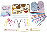 Arts & Crafts : LEARN TO CROCHET IN AN HOUR KIT! Easy For Beginners. Everything You Need To Master Crochet Fast. Complete Set Contains 56 Page 'How To Crochet' Book, 12 Quality Crochet Hooks & Yarn.