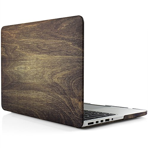 iDOO Matte Rubber Coated Soft Touch Plastic Hard Case for MacBook Pro (Stylish Black Wooden Box)