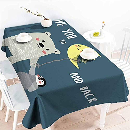 Onefzc Spill-Proof Table Cover,I Love You Teddy Bear and Penguin Friends Arctic Valentines Under Moon Cartoon,Party Decorations Table Cover Cloth,W60X90L Slate Blue Grey - Cobblestone Slate