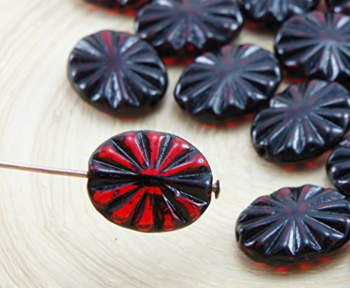12pcs Crystal Ruby Red Black Wash Flat Flower Carved Oval Czech Glass Beads 12mm x 14mm (Oval Czech Glass Beads)