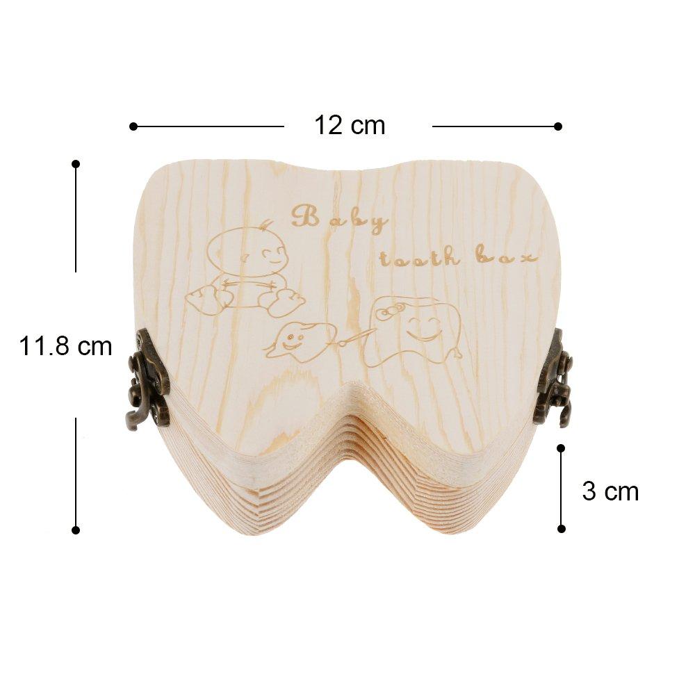 Lictin Caja de Dientes de Leche Unisex Almacenamiento Madera Almacenaje Para Dientes De Leche,1pcs
