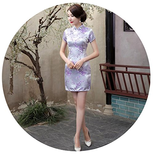 Chinese Women Dress Silk Satin Cheongsam Mini Sexy Qipao Flower Wedding Dress