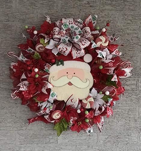 Handmade Deco Mesh Christmas Wreath - Santa Wreath (Christmas Wreaths Mesh)