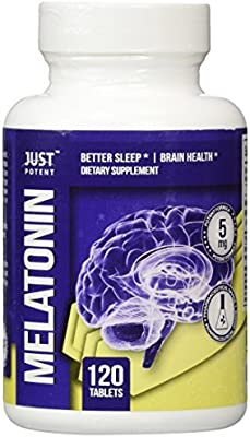 Pharmaceutical Grade Melatonin by Just Potent :: 5mg Tablets :: Better Sleep :: Brain Health :: 120 Count :: Fast Acting and Non-Habit Forming Sleep Aid! by ...