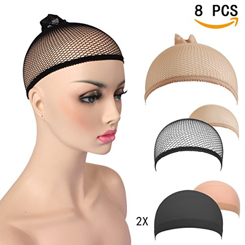 AKStore-8-PCS-Wig-CapsComfortable-Soft-Unisex-Stocking-Wig-Hairnet-Cap-SnoodNeutral-Nude-Beige-and-Black-Nylon-and-Mesh