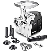 Electric Meat Grinder - Size #8 - Model STX-1200-TFC - STX International Turboforce Cadet - Hideaway Handle - 3 Grinding Plates - 3 Cutting Blades - 3 Sausage Stuffing Tubes - Kubbe Attachment