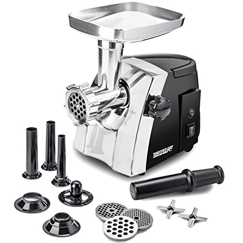 Electric Meat Grinder – Size #8 - Model STX-1200-TFC – STX International Turboforce Cadet – Hideaway Handle – 3 Grinding Plates – 3 Cutting Blades – 3 Sausage Stuffing Tubes – Kubbe Attachment
