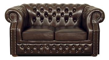 Casa-Padrino sofá 2 plazas de Cuero Real marrón Oscuro ...