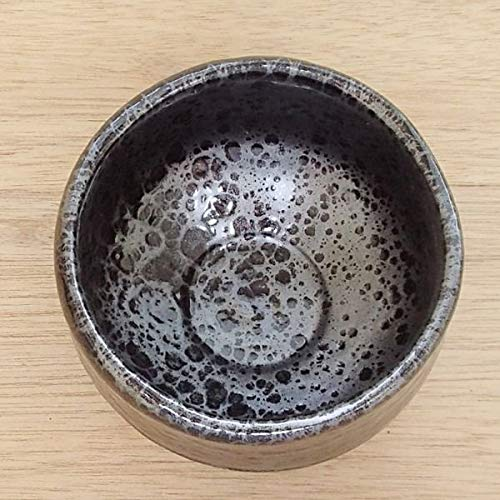 Matcha bowl 4.72'' dia. Japanese tea cup for tea ceremony, Authentic Mino Ware Pottery, Chawan,Yuteki Oil drop pattern TG43024 from Japan