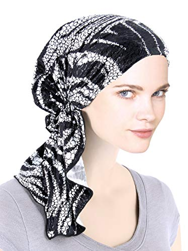 The Bella Scarf Chemo Turban Head Scarves Pre-Tied Bandana for Cancer Black White Swirl