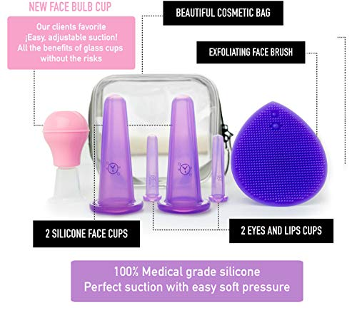 Facial Cupping Set (7Pcs) - Face, Eye and Lips Cupping Massage Kit with Silicone Cleansing Brush - Works with Fine Lines & Wrinkles - Helps with Instant Ageless Skin and Improved Collagen