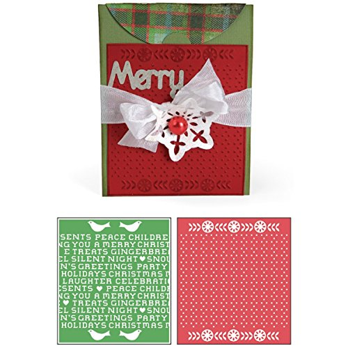 Sizzix Bigz XL with Bonus Textured Impressions Embossing Folders - Card, A2 with Flap and Holiday Cross Stitch & Pattern ()