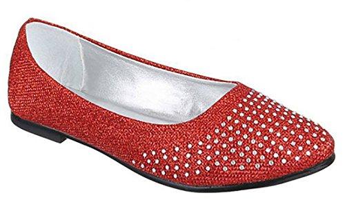 donna basse Rosso ballerine scarpe sintetico Scarpe tessuto bamboline strass Rvwdq5vf