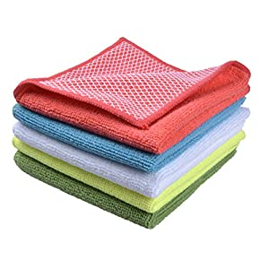 "Sinland 5 color assorted Microfiber Dish Cloth Best Kitchen Cloths Cleaning Cloths With Poly Scour Side 12""x12"" 5 Pack"