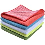 Sinland Microfiber Dish Cloth Kitchen Cloths With Poly Scour Side 30x30cm (assorted, 5)