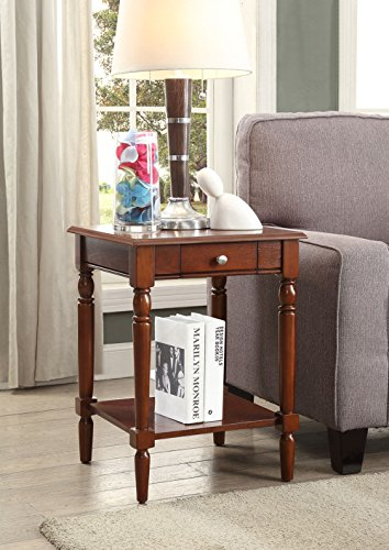 Convenience Concepts French Country End Table with Drawer and Shelf, Espresso