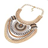 QIYUN.Z (TM) Funky Ethnic Tribal Colorful Multiple Chain Bib Choker Statement Collar Necklace