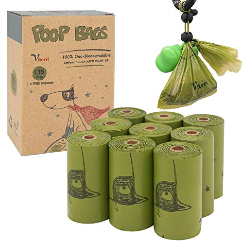 Vitervi Dog Poop Bags, Extra Thick Strong 100% Leak Proof, Unscented, Eco-Friendly Doggie Waste Bags with Dispenser