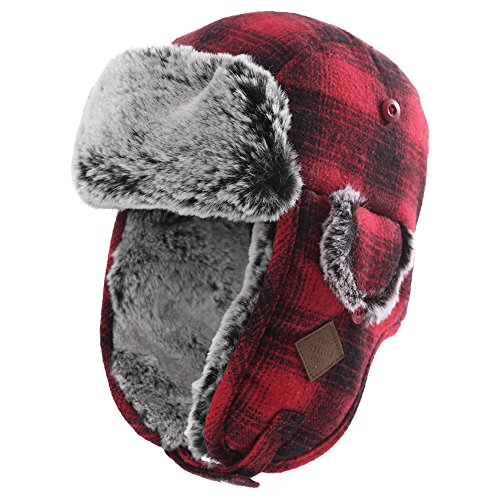 SIGGI Trapper Hat Faux Fur Aviator Hat with Ear Flaps Russian Winter Cold Weather Hat Men Women Fleece Lined Red