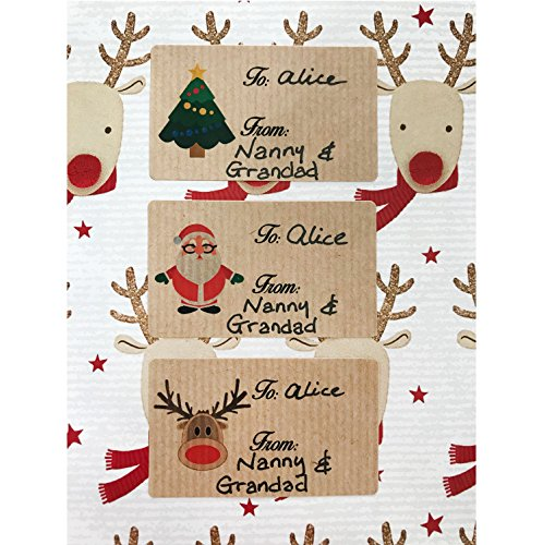 21 Christmas gift tag stickers. Kraft material self adhesive Christmas labels. Featuring rudolph, santa and a Christmas tree