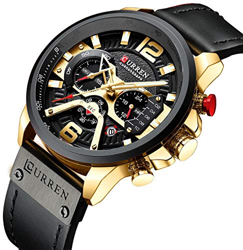 Mens Luxury Watches Business Chronograph Dress Waterproof Leather Strap Analog Quartz Wrist Watch (Gold Black)