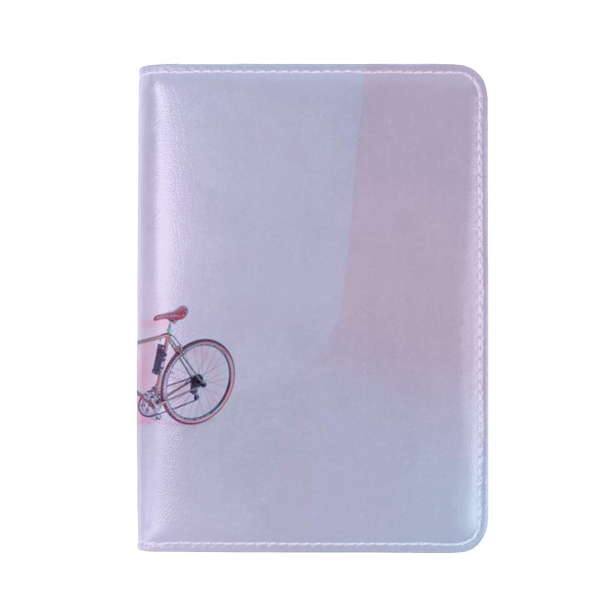 Bicycle Pink Light Leather Passport Holder Cover Case Travel One Pocket