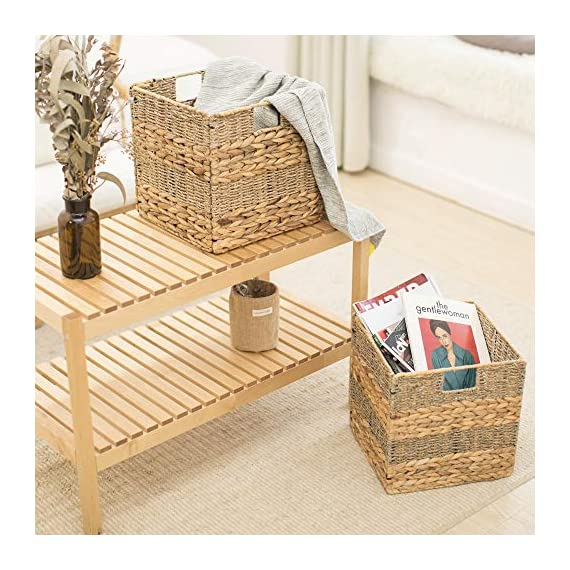 "StorageWorks Wicker Storage Baskets, 10.2""x10.2""x10.6"", 2-Pack - SPACE EFFICIENT: Collapsible design. STURDY: Hand woven over an iron frame. HOME DECOR: Versatile design fits well in your home. - living-room-decor, living-room, baskets-storage - 51daDXlsVFL. SS570  -"