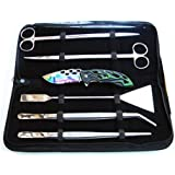 5 PC Aquarium Plants Landscaping Tools Kit in Pouch Packing With Free Rainbow Titanium Spring Assisted Pocket Knife
