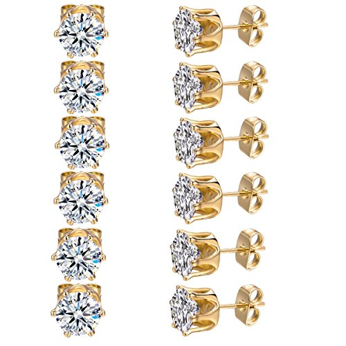 MDFUN 6 Pairs 3mm 18K Yellow Gold Plated Round Cubic Zirconia Stud Earring Pack of 6